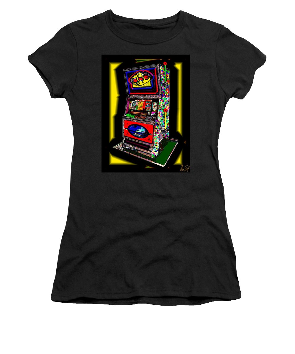 Greed Women's T-Shirt (Athletic Fit) featuring the digital art the World-Trade-Slot-Machine by Helmut Rottler