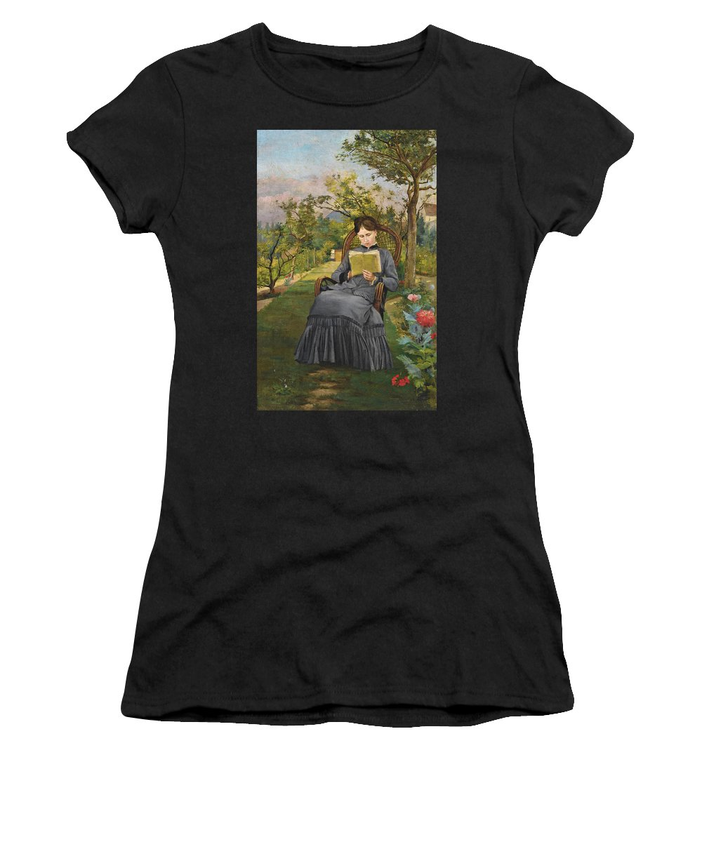 Frederic Bazille Women's T-Shirt (Athletic Fit) featuring the painting Therese Reading In The Park Of Meric by Frederic Bazille