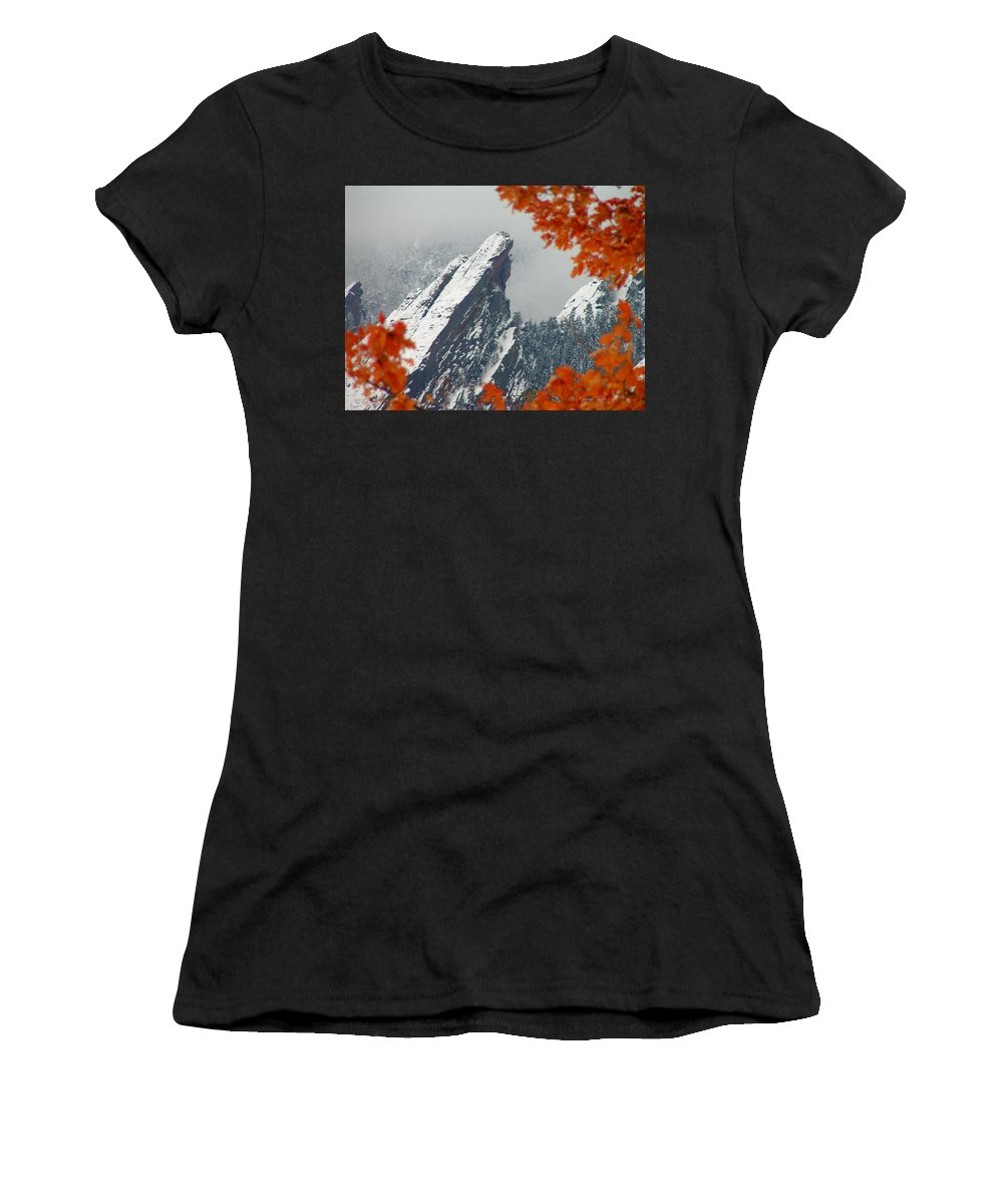 Flatirons Boulder Colorado Winter Fall Autumn Nature Rocky Mountains Zen Simple Women's T-Shirt (Athletic Fit) featuring the photograph Third Flatiron by George Tuffy