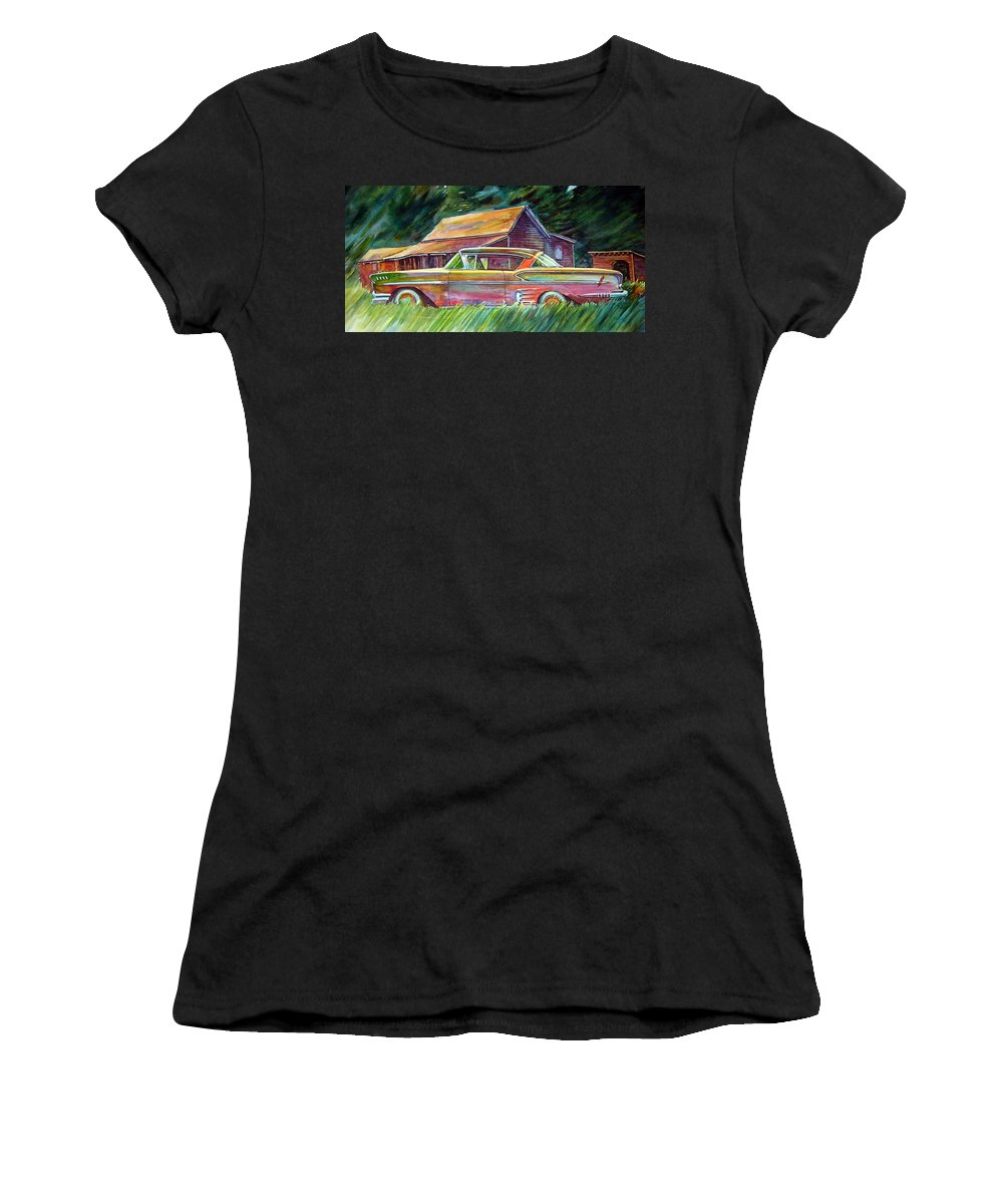 Rusty Car Chev Impala Women's T-Shirt (Athletic Fit) featuring the painting This Impala Doesn by Ron Morrison