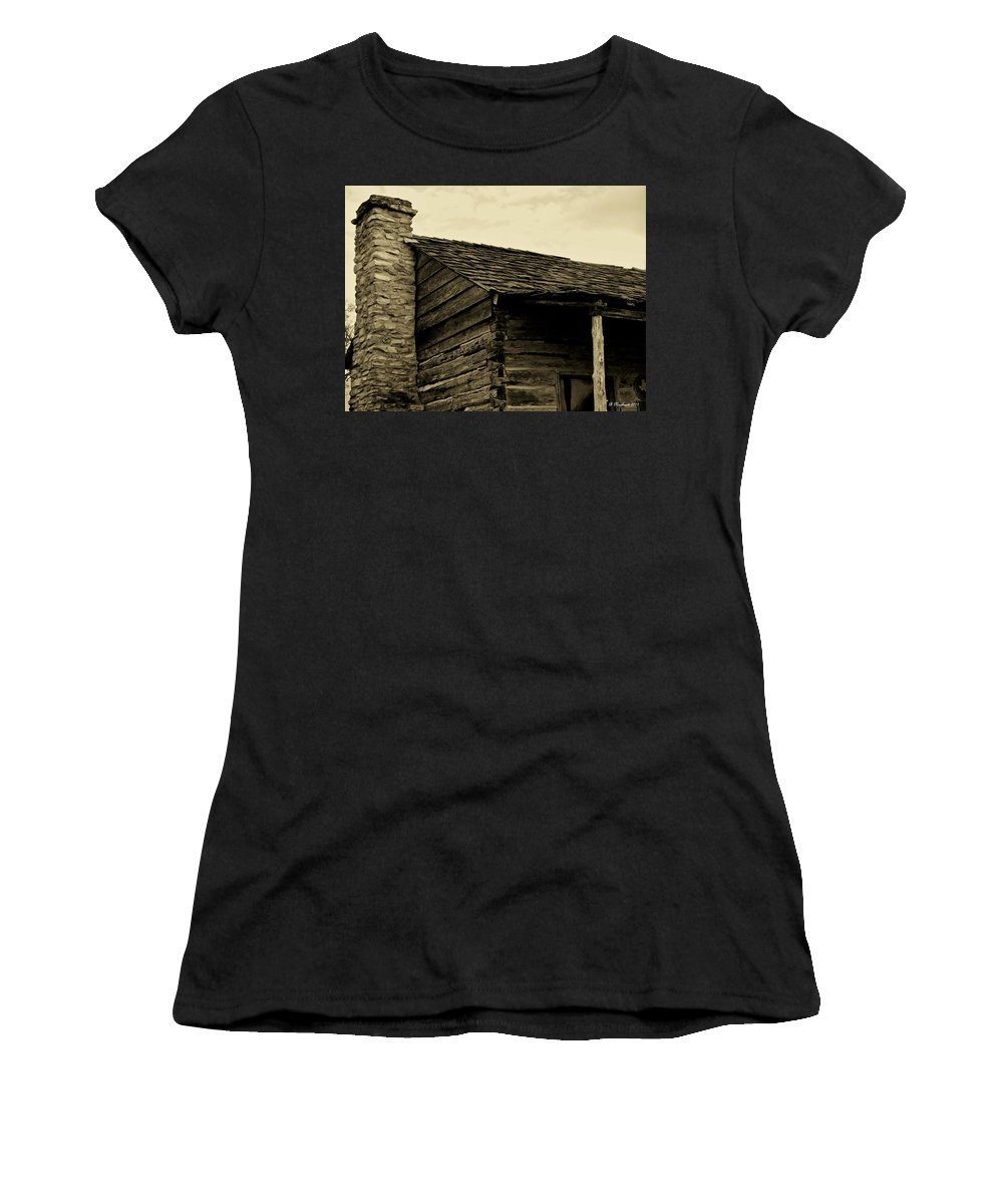 Log Women's T-Shirt (Athletic Fit) featuring the photograph This Old Cabin by Betty Northcutt
