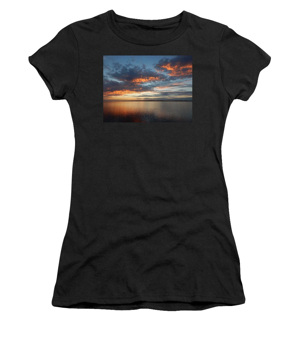 Oregon Women's T-Shirt (Athletic Fit) featuring the photograph Three Fiery Clouds by Gallery Of Hope