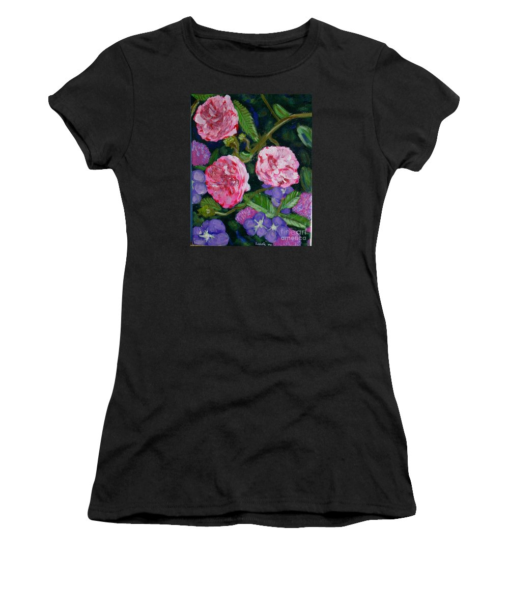 Roses Women's T-Shirt (Athletic Fit) featuring the painting Three For The Show by Laurie Morgan