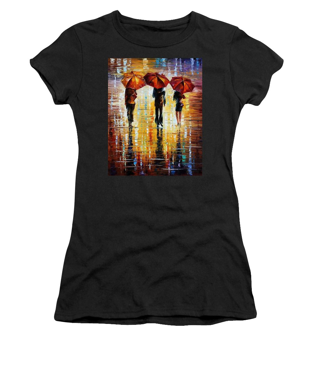 Afremov Women's T-Shirt featuring the painting Three Red Umbrellas by Leonid Afremov