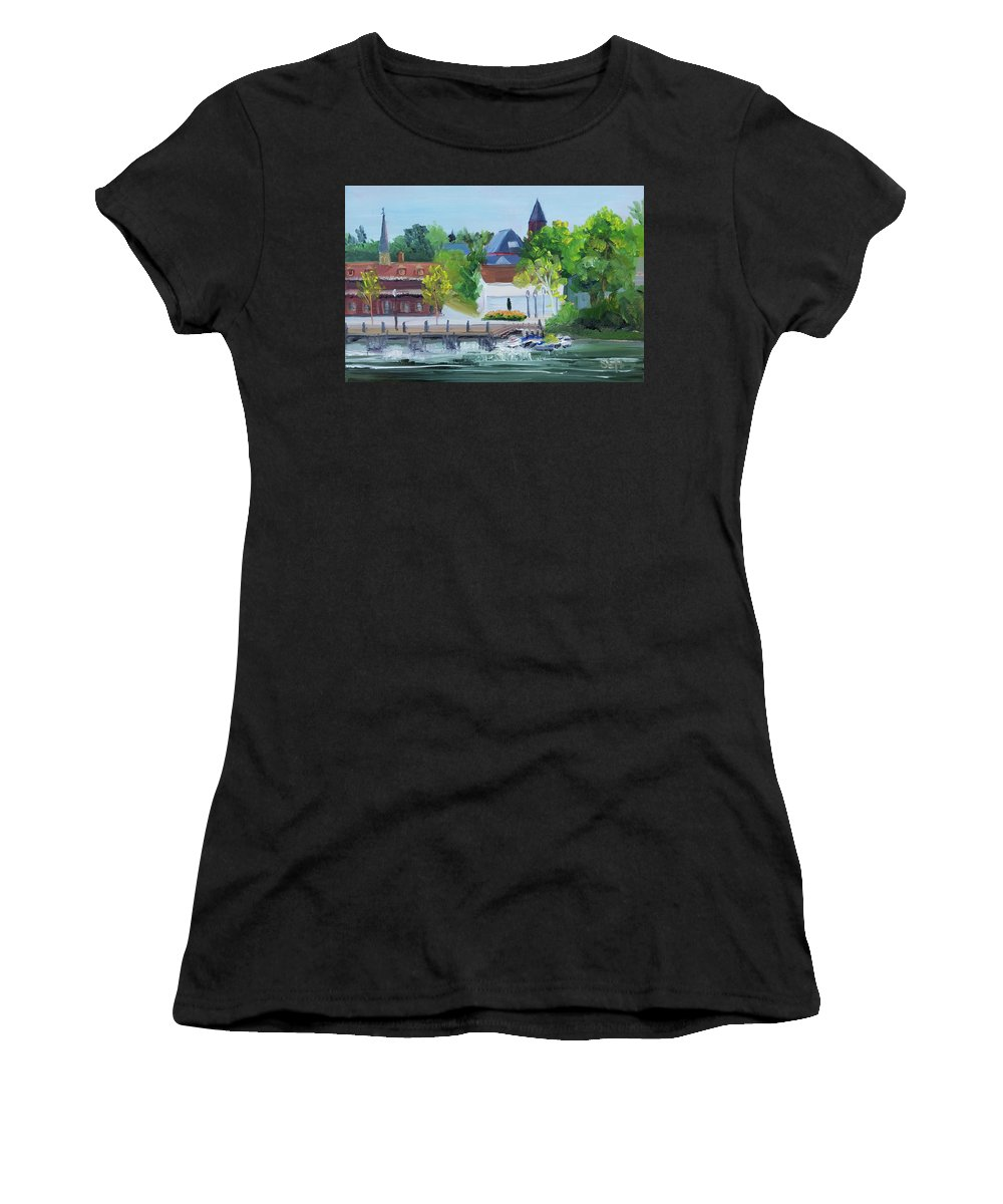 En Plein Air Women's T-Shirt (Athletic Fit) featuring the painting Three Spires by Susan Hanna