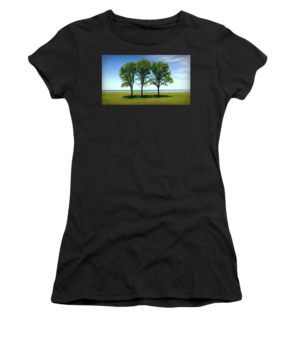Three Trees Women's T-Shirt (Athletic Fit) featuring the photograph Three Trees Lake Shore by Patrick Malon