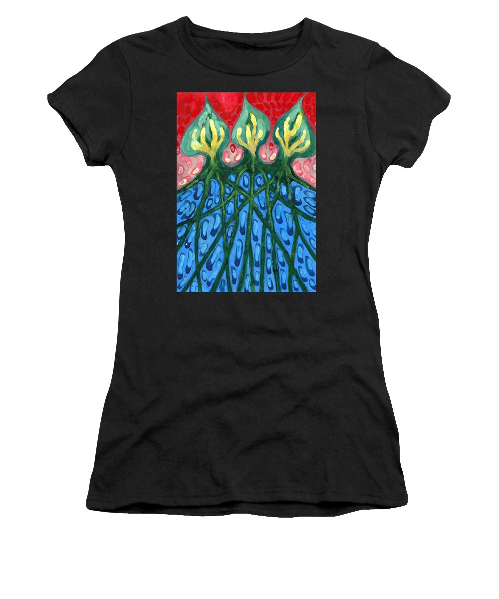Colour Women's T-Shirt (Athletic Fit) featuring the painting Three by Wojtek Kowalski