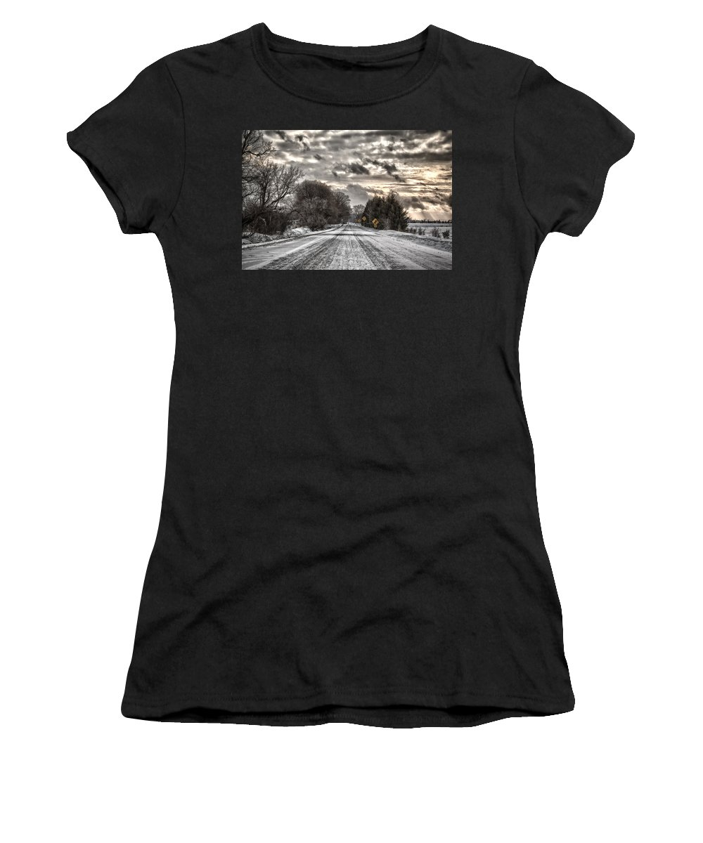 Winter Women's T-Shirt (Athletic Fit) featuring the photograph Through The Snow by Eunice Gibb