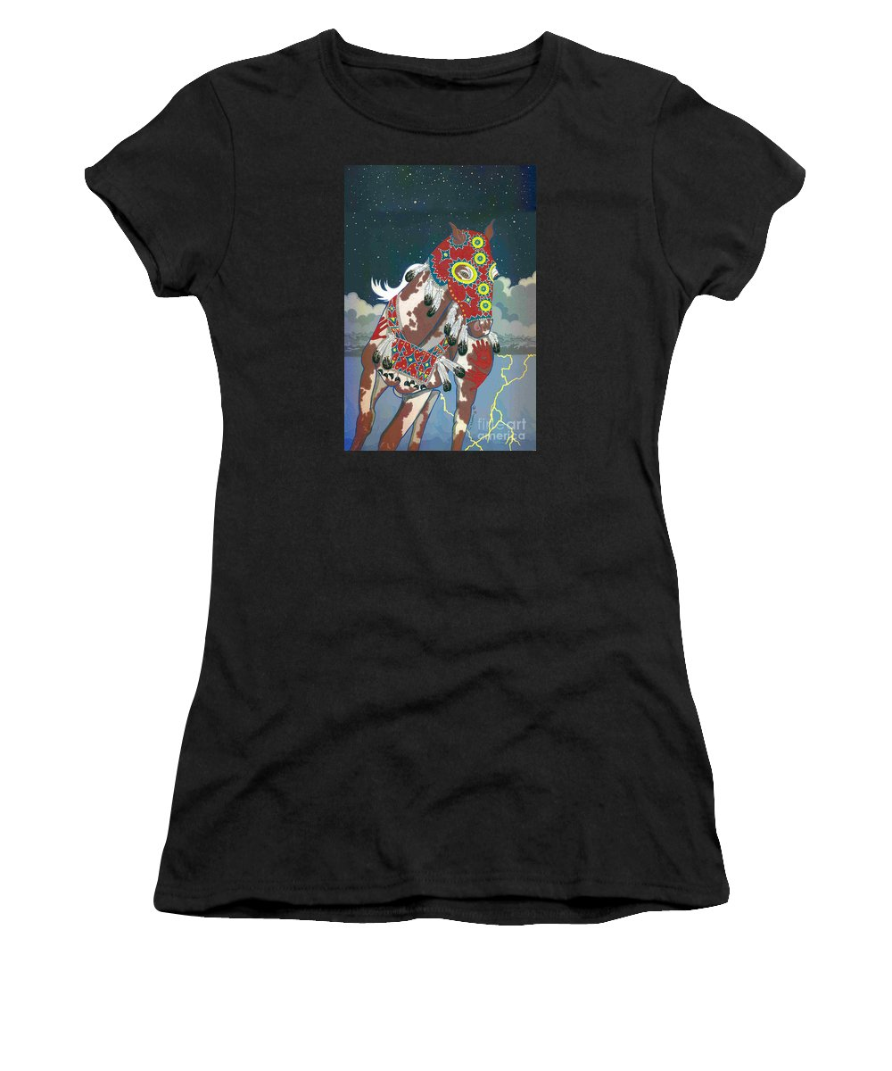 Native American Artwork Women's T-Shirt featuring the painting Thunder Pony II by Chholing Taha