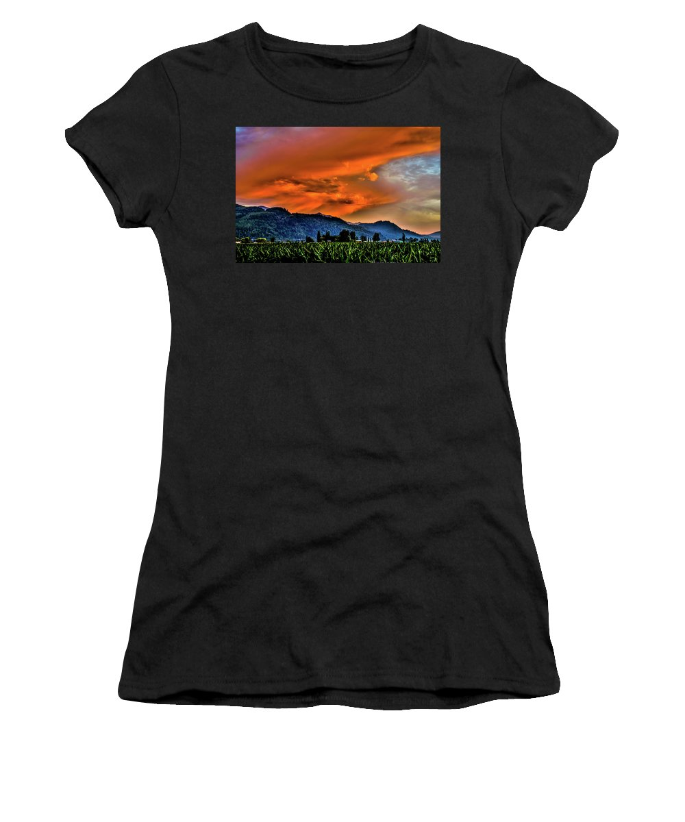 Skies Women's T-Shirt (Athletic Fit) featuring the photograph Thunder Storm In The Valley by David Lee
