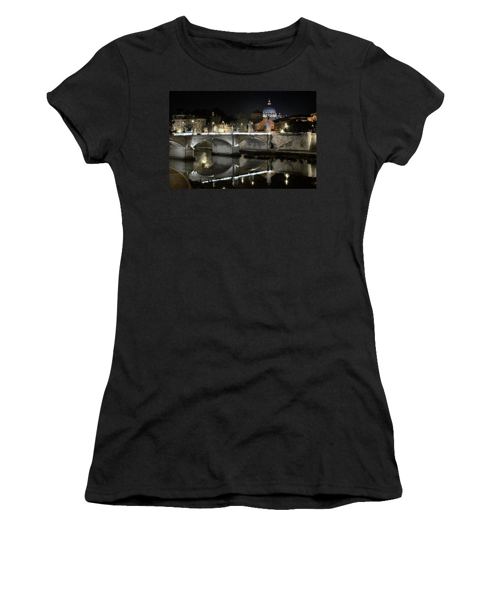 Tranquil Women's T-Shirt featuring the photograph Tiber's Reflection Of Religion by Scott Hippensteel