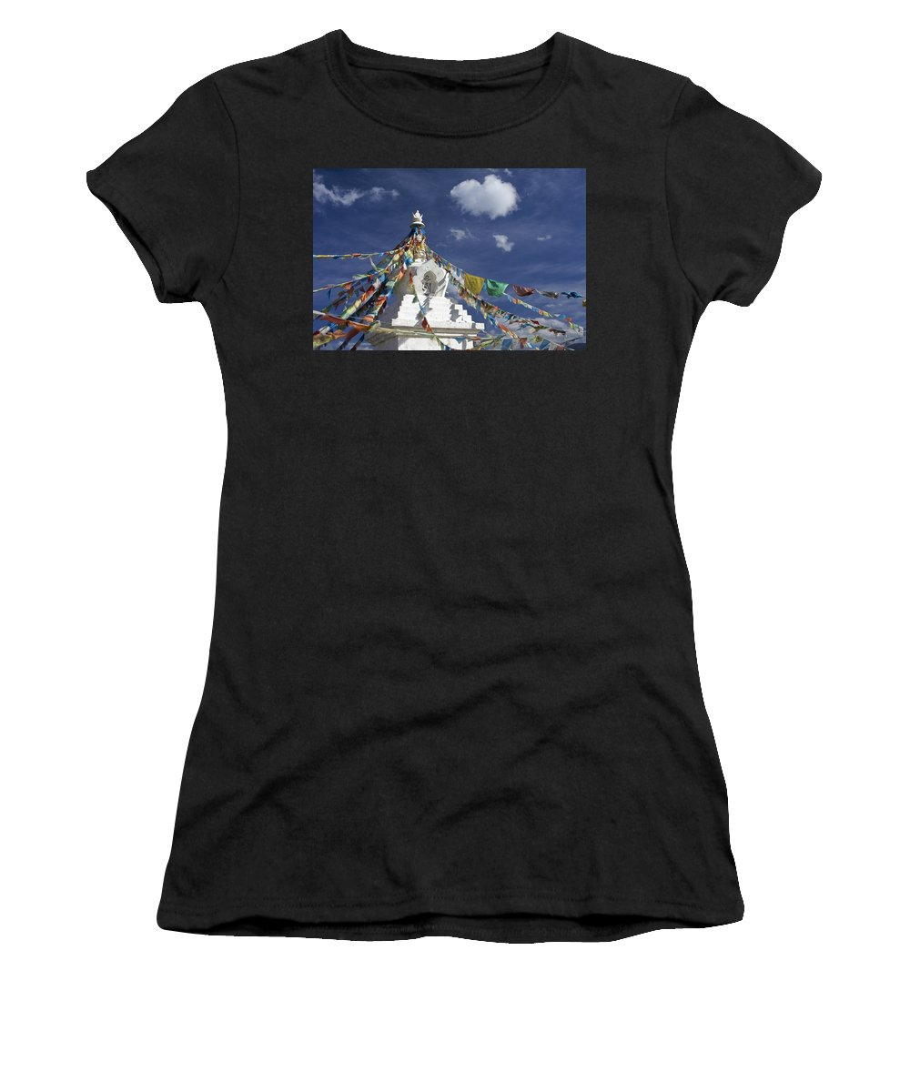 Asia Women's T-Shirt (Athletic Fit) featuring the photograph Tibetan Stupa With Prayer Flags by Michele Burgess