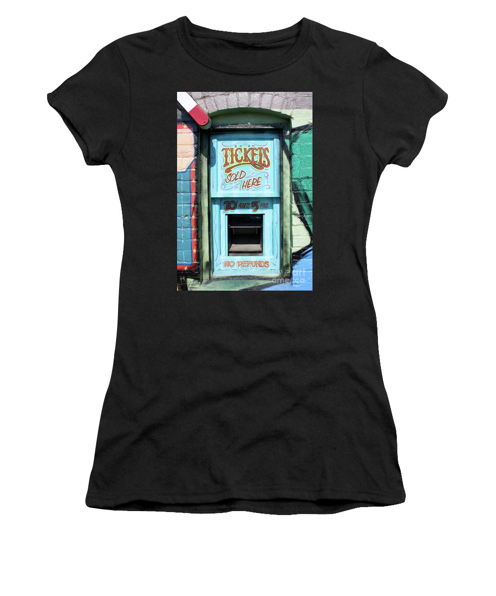 Ticket Window Women's T-Shirt (Athletic Fit) featuring the photograph Ticket Window For Show Tickets by Colin Cuthbert