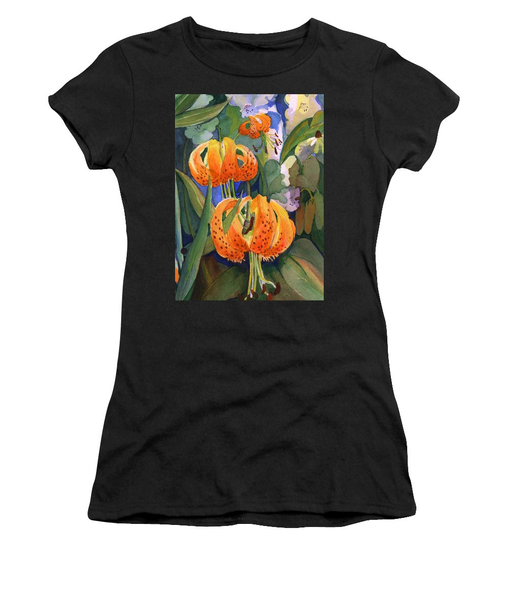 Flower Women's T-Shirt featuring the painting Tiger Lily Parachutes by Nancy Watson