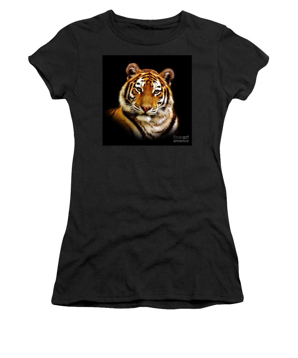 Wildlife Women's T-Shirt (Athletic Fit) featuring the photograph Tiger by Jacky Gerritsen