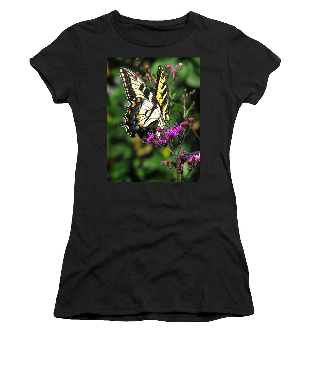 Nature Women's T-Shirt (Athletic Fit) featuring the photograph Tiger Swallowtail by Peg Urban