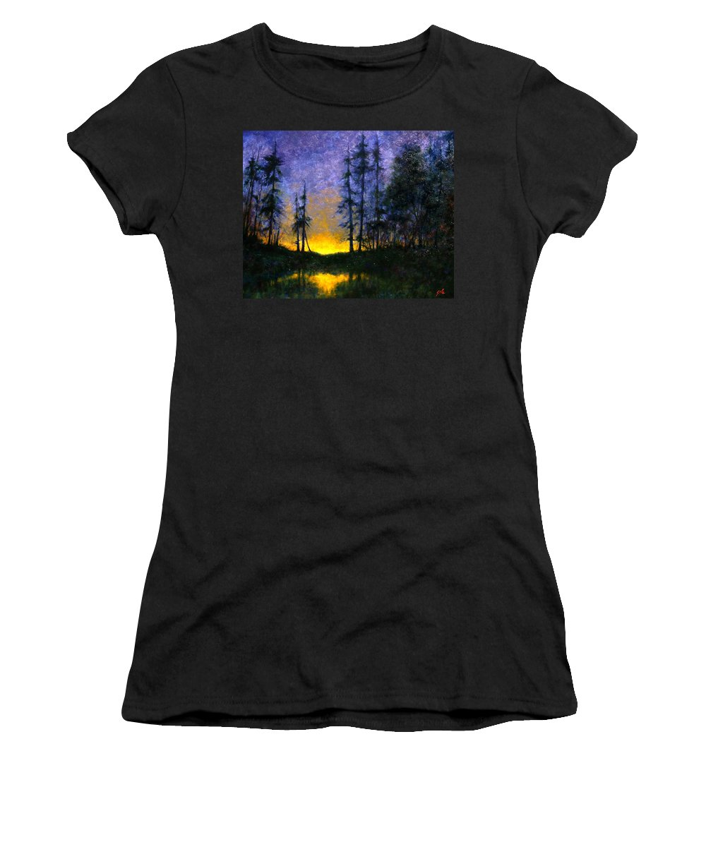 Landscape. Nocturn Women's T-Shirt featuring the painting Timberline by Jim Gola
