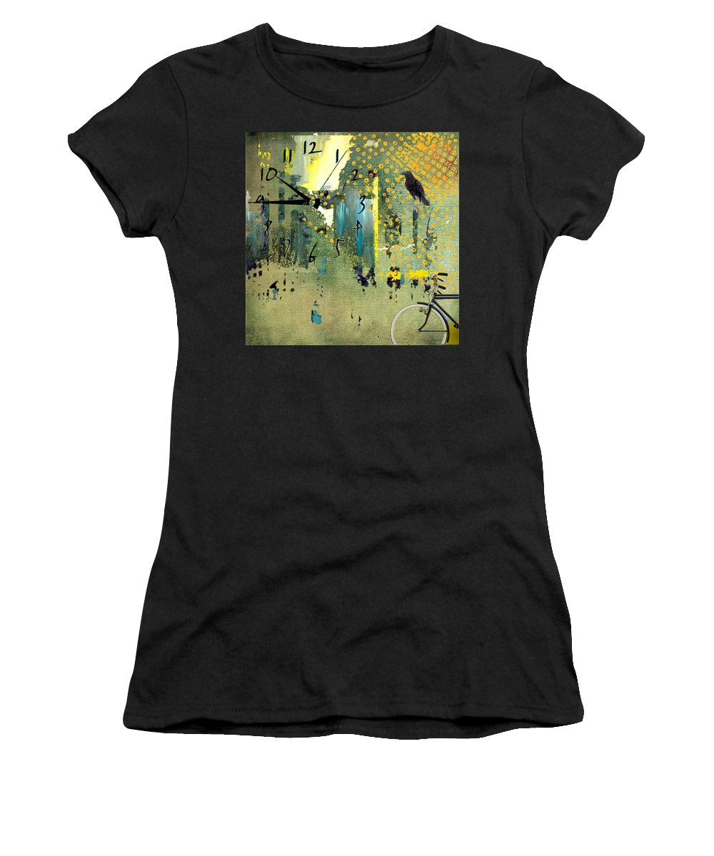 Women's T-Shirt (Athletic Fit) featuring the digital art Time To Bike by Jean Savoie
