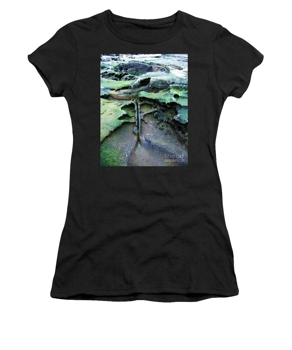 Photograph Rock Beach Ocean Women's T-Shirt featuring the photograph Time Washed Out by Seon-Jeong Kim
