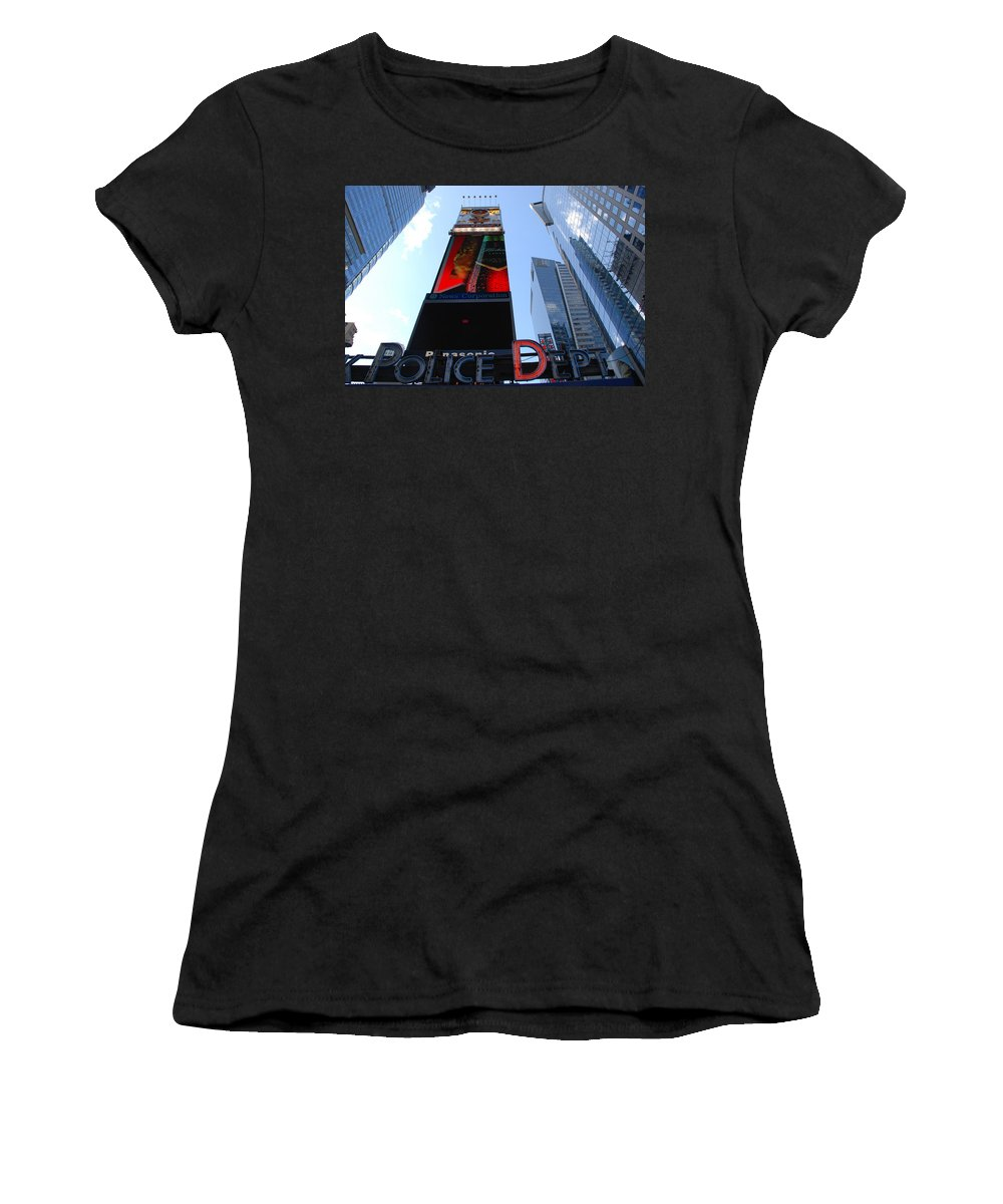 Times Square Women's T-Shirt (Athletic Fit) featuring the photograph Times Square Cops by Rob Hans