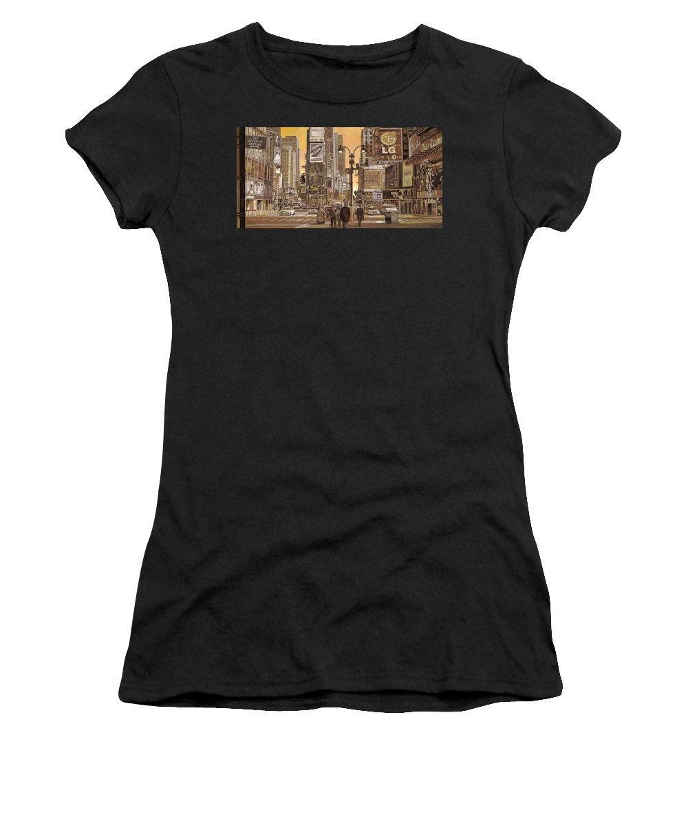 New York Women's T-Shirt (Athletic Fit) featuring the painting Times Square by Guido Borelli