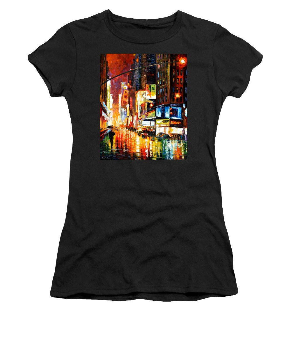 City Women's T-Shirt (Athletic Fit) featuring the painting Times Square by Leonid Afremov