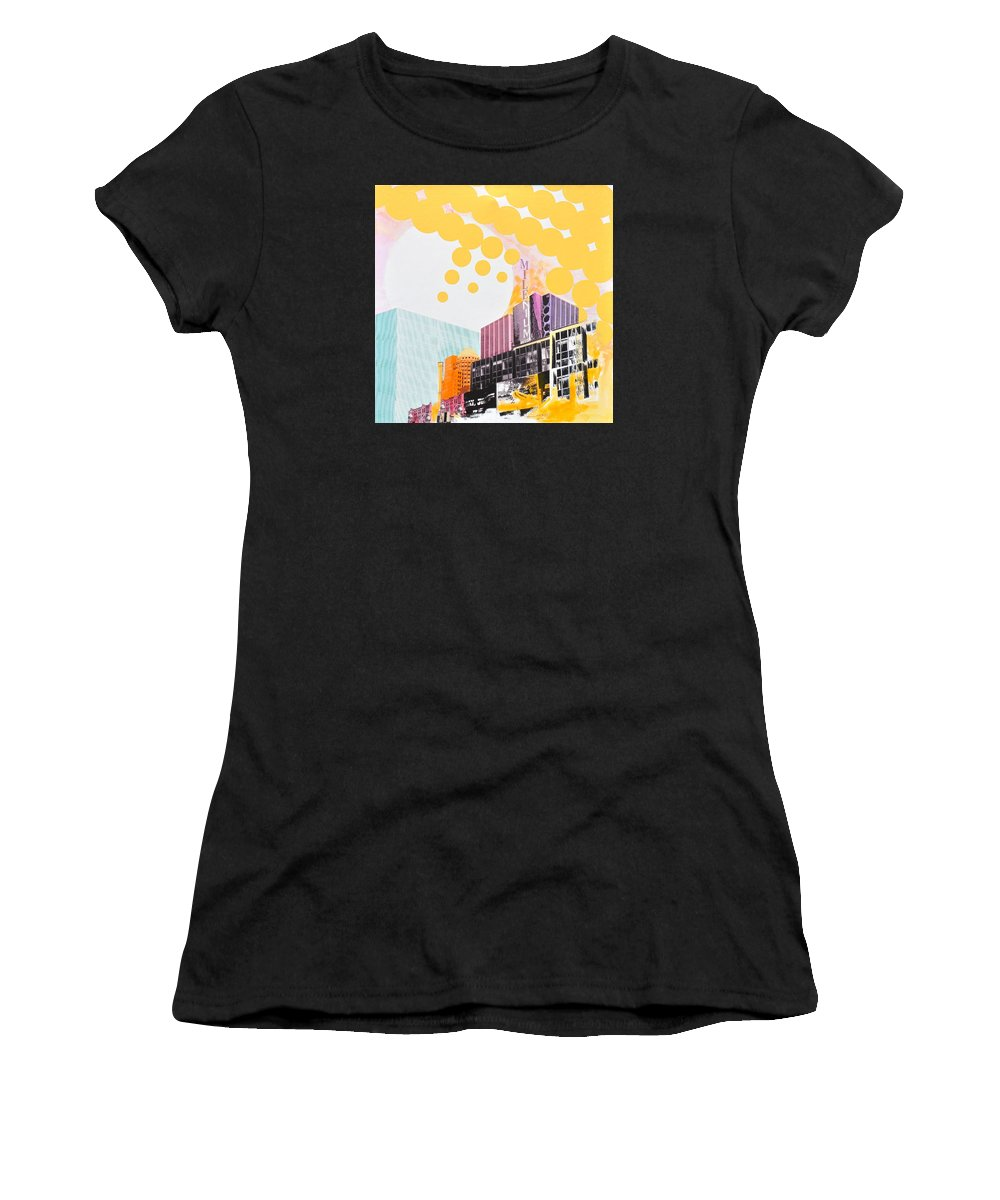 Ny Women's T-Shirt (Athletic Fit) featuring the painting Times Square Milenium Hotel by Jean Pierre Rousselet