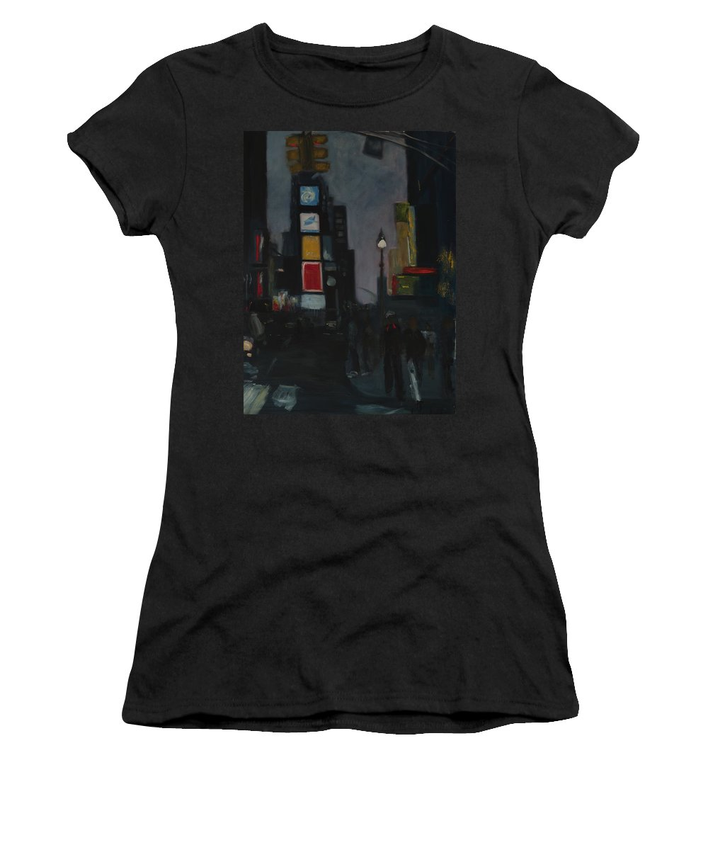Cityscape Women's T-Shirt (Athletic Fit) featuring the painting Times Square Night by Gail Eisenfeld
