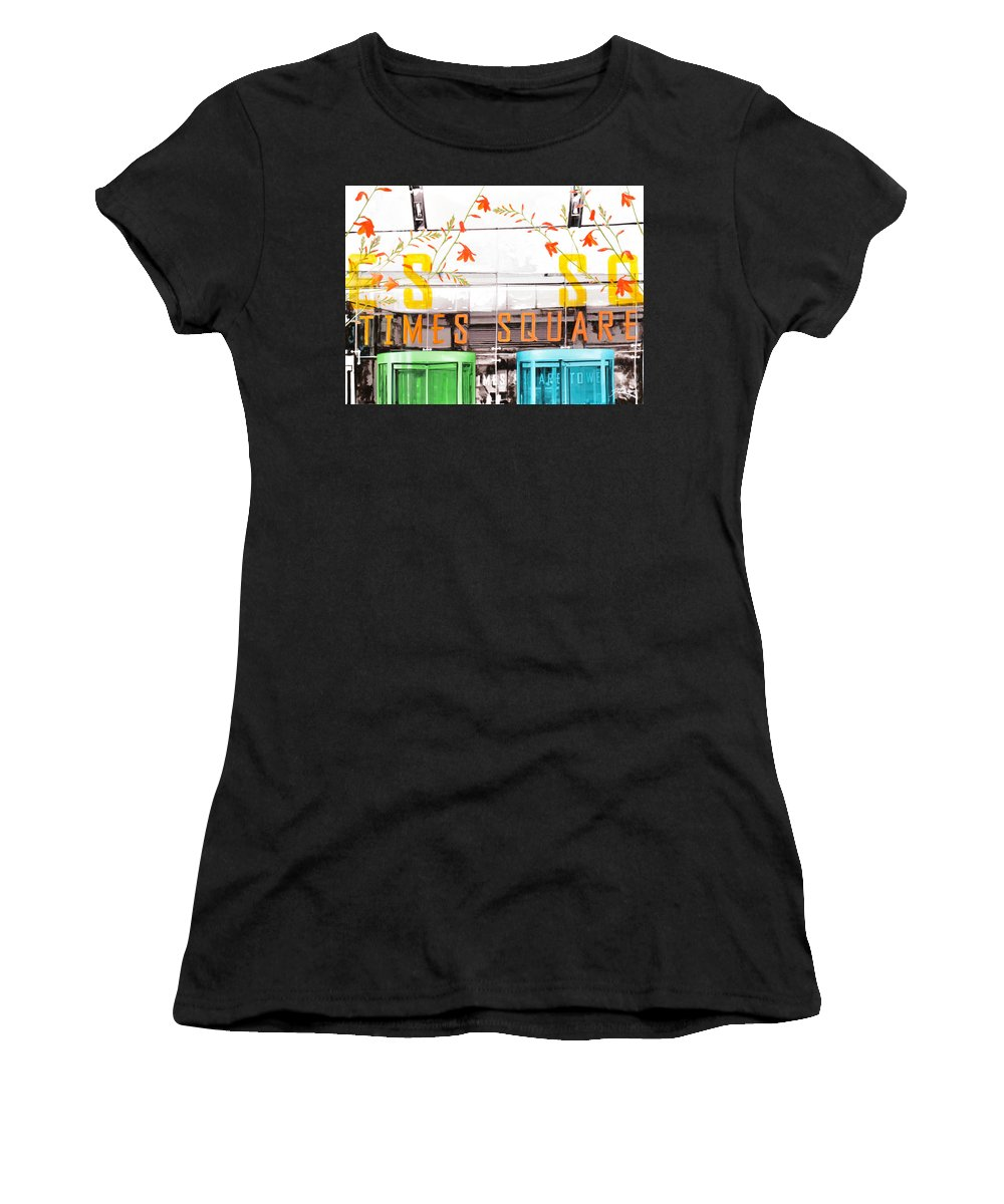 Ny Women's T-Shirt (Athletic Fit) featuring the painting Times Square Tower by Jean Pierre Rousselet