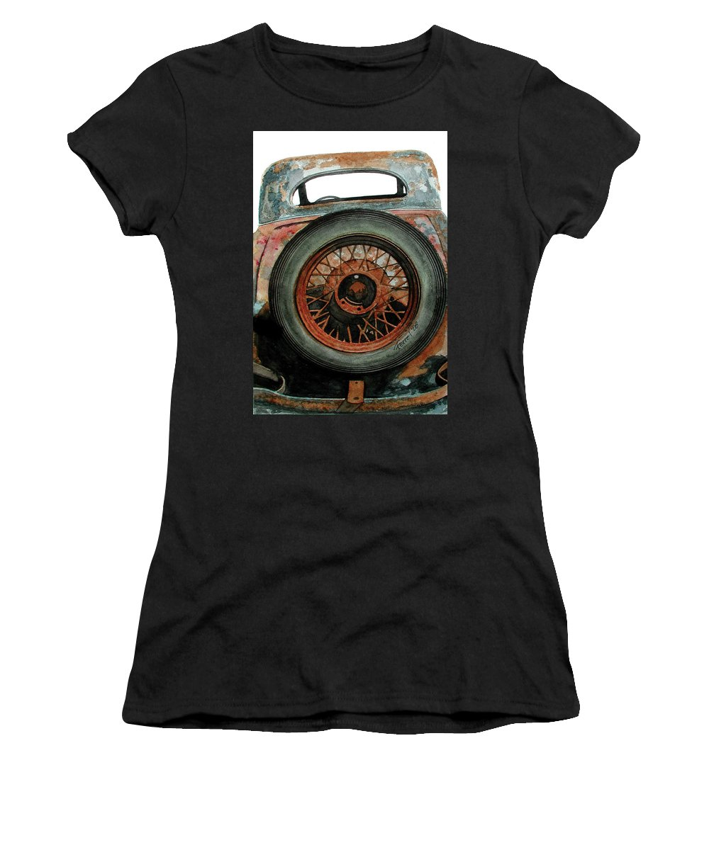 Car Women's T-Shirt (Athletic Fit) featuring the painting Tired by Ferrel Cordle
