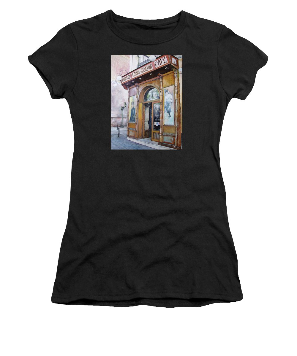 Tirso Women's T-Shirt featuring the painting Tirso De Molina Old Tavern by Tomas Castano