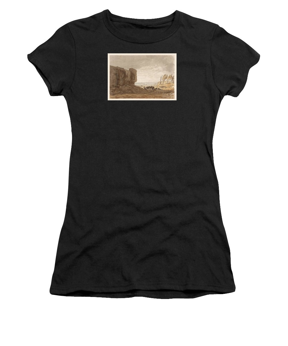 George Barret Junior 1767�1842 Title Coast Scene Women's T-Shirt (Athletic Fit) featuring the painting Title Coast Scene by MotionAge Designs