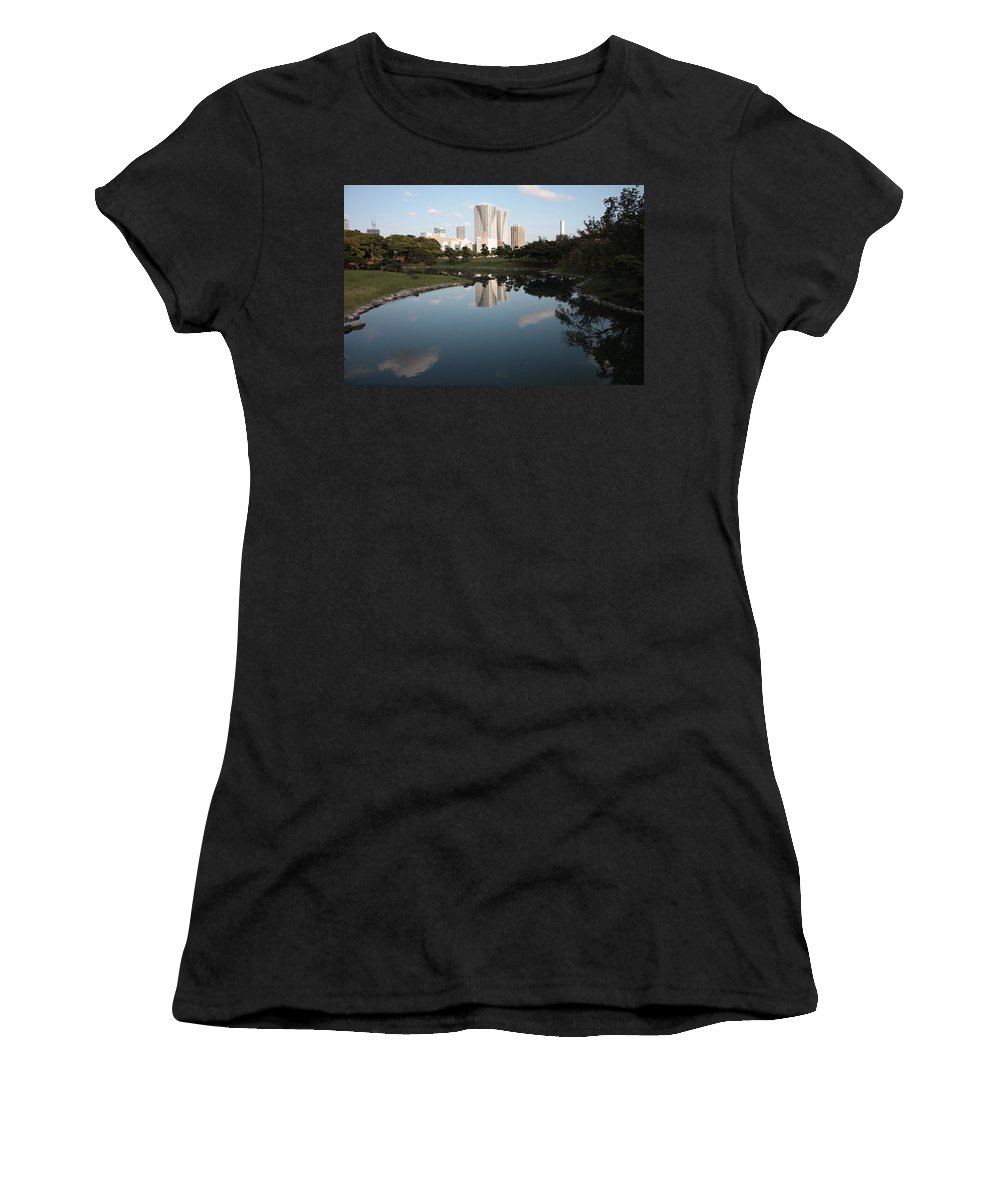 Tokyo Women's T-Shirt (Athletic Fit) featuring the photograph Tokyo Highrises With Garden Pond by Carol Groenen
