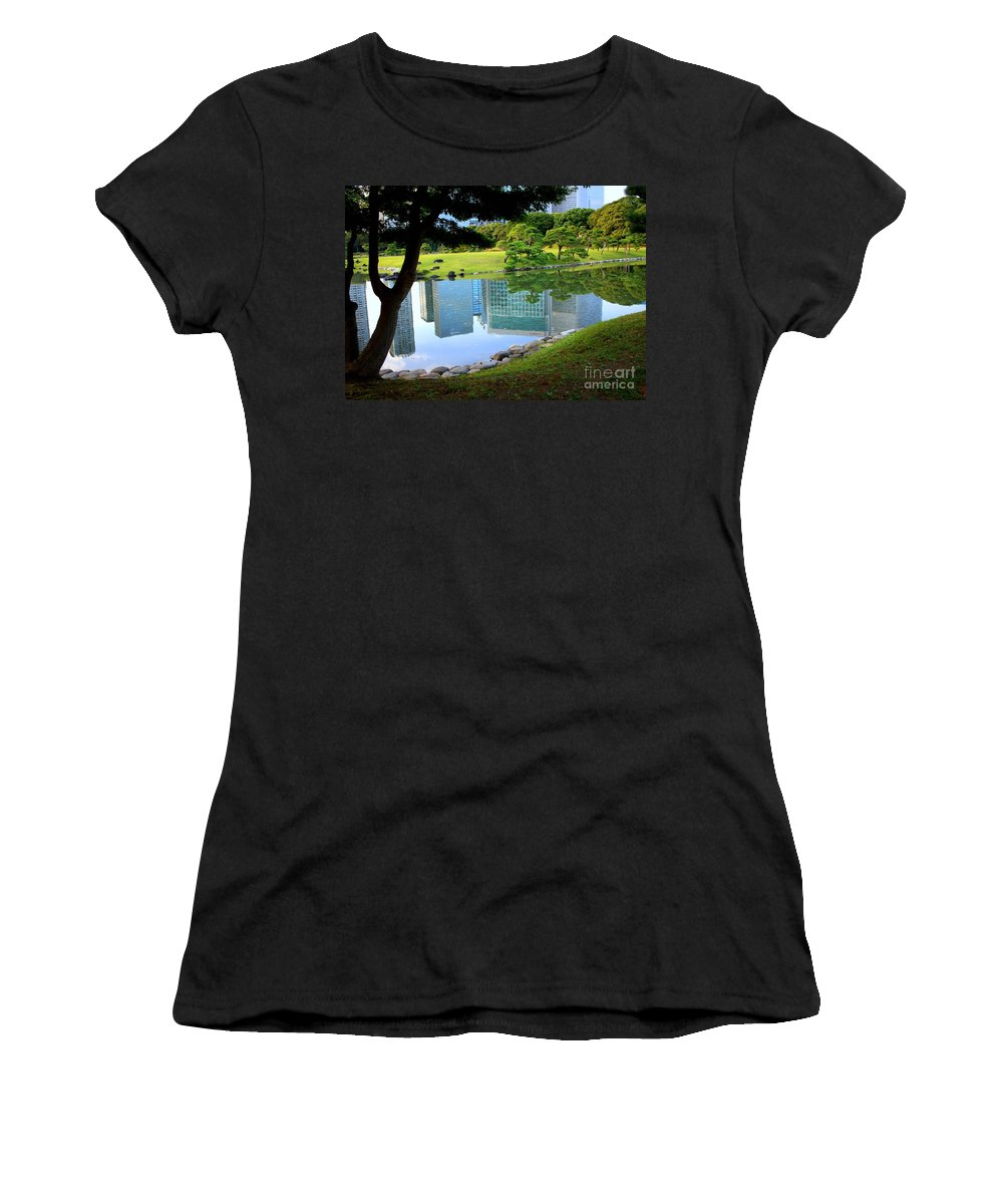 Tokyo Women's T-Shirt (Athletic Fit) featuring the photograph Tokyo Skyscrapers Reflection by Carol Groenen