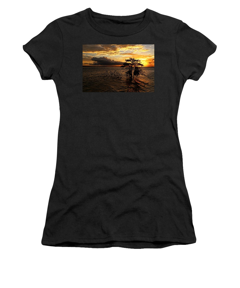 Toledo Bend Women's T-Shirt featuring the photograph Toledo Bend Sunset by Judy Vincent
