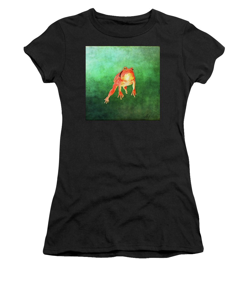 Frog Women's T-Shirt (Athletic Fit) featuring the painting Tomato Frog by Gary D Baker