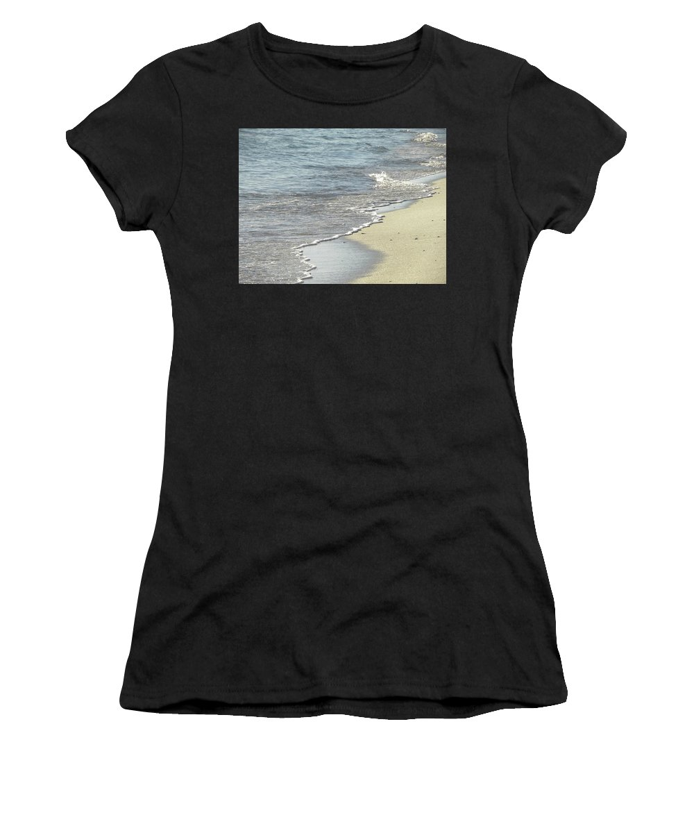Beach Women's T-Shirt (Athletic Fit) featuring the photograph Waves Crashing by Shannon Turek