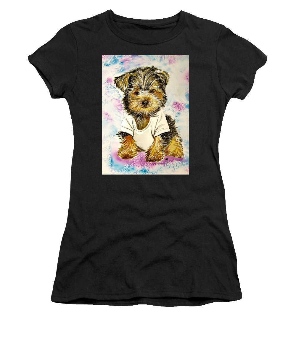 Yorkshire Terrier Painting Women's T-Shirt featuring the painting Too Sexy For My Shirt by Carol Blackhurst