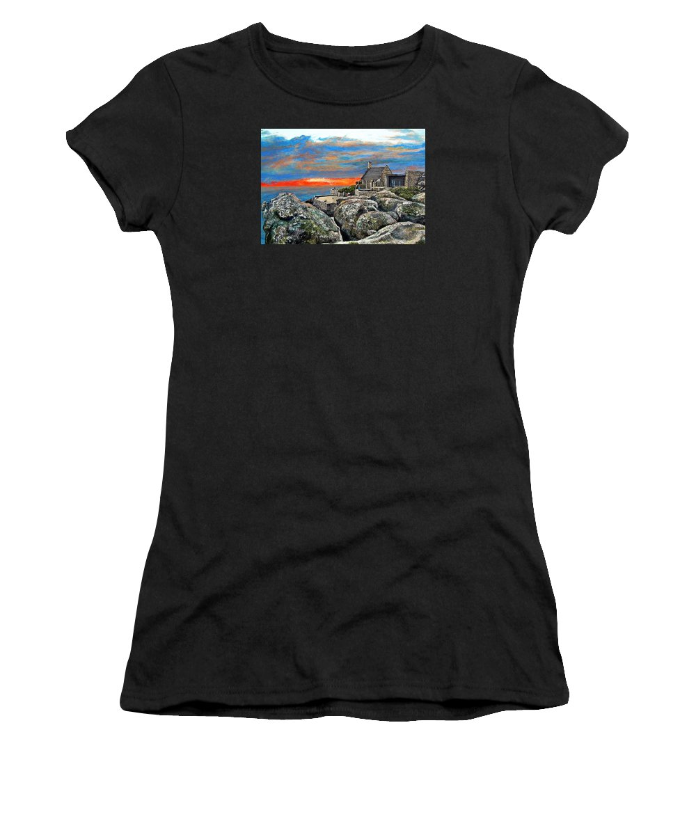 Sunset Women's T-Shirt (Athletic Fit) featuring the painting Top Of Table Mountain by Michael Durst