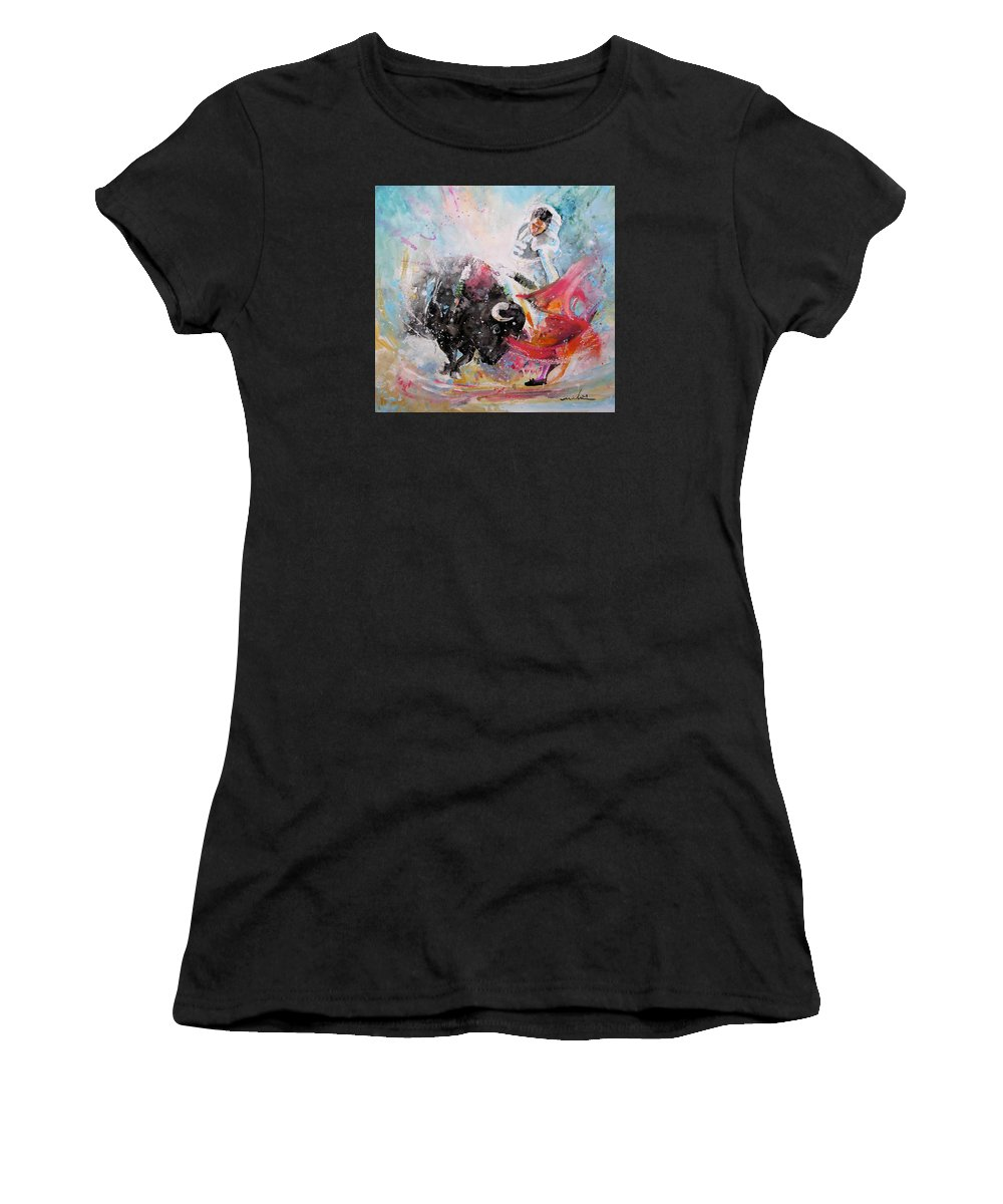Animals Women's T-Shirt (Athletic Fit) featuring the painting Toro Tempest by Miki De Goodaboom