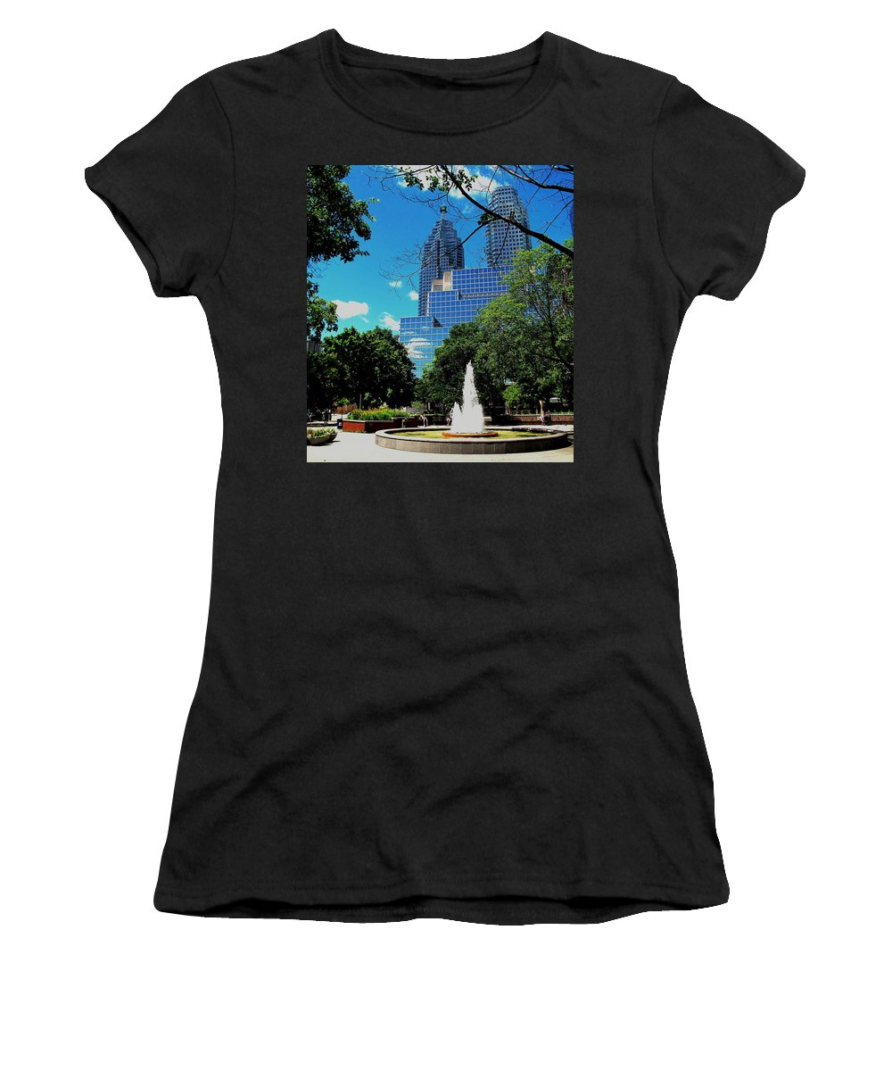 Park Women's T-Shirt featuring the photograph Toronto Wellington Street Park by Ian MacDonald