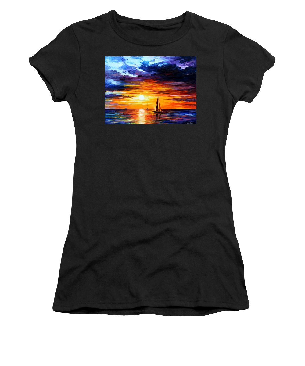 Afremov Women's T-Shirt (Athletic Fit) featuring the painting Touch Of Horizon by Leonid Afremov