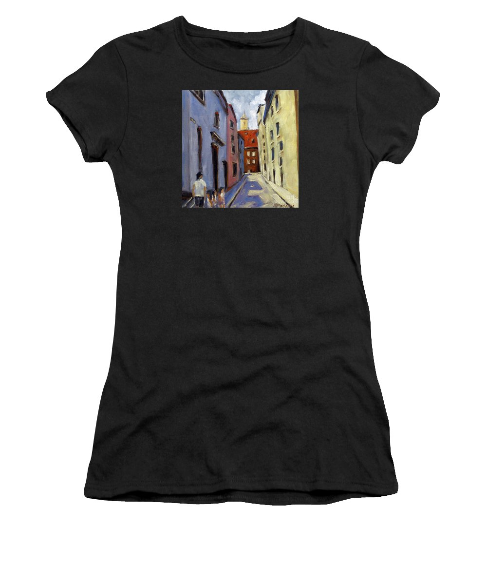 Urban Women's T-Shirt (Athletic Fit) featuring the painting Tour Of The Old Town by Richard T Pranke