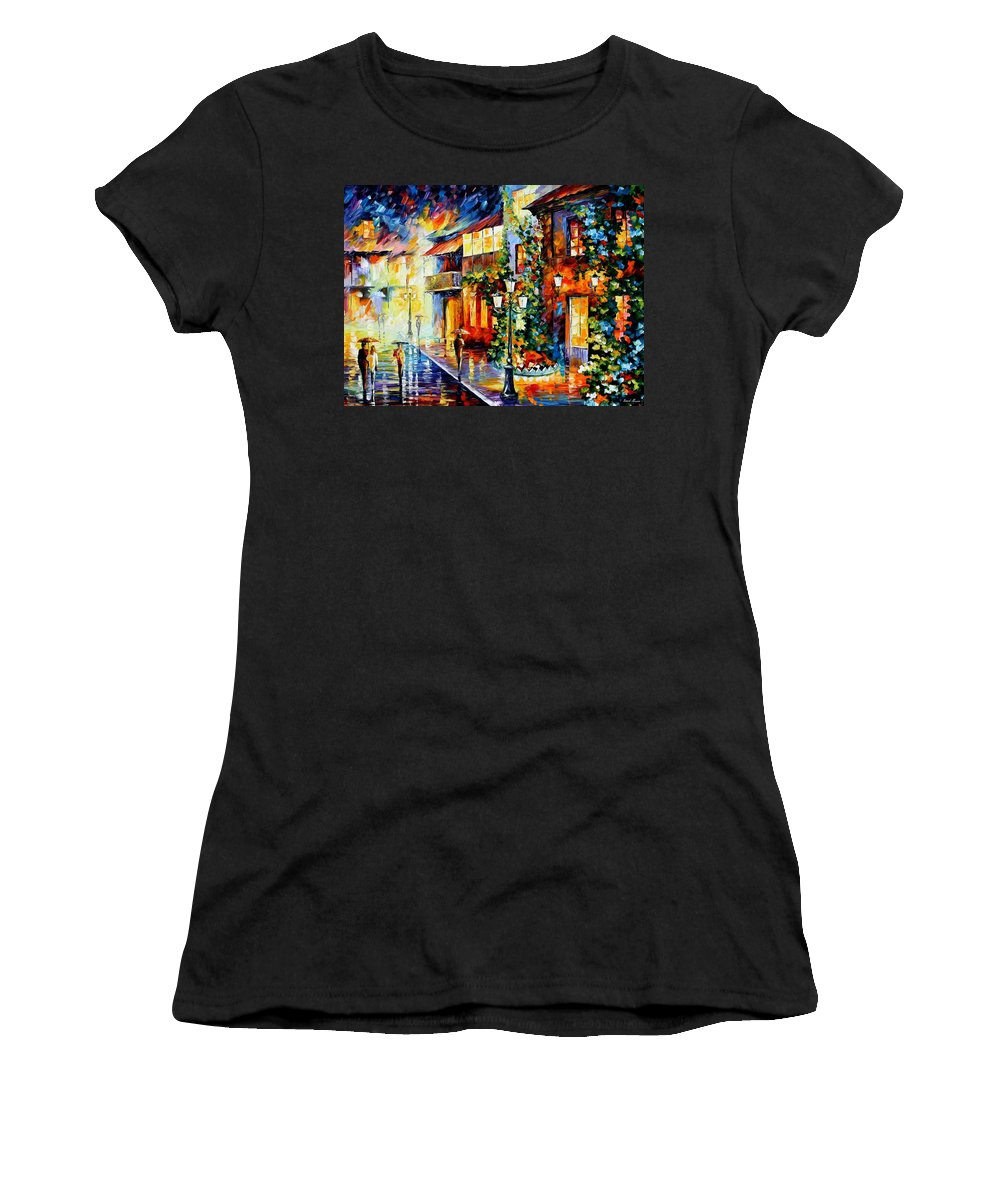 Afremov Women's T-Shirt (Athletic Fit) featuring the painting Town From The Dream by Leonid Afremov