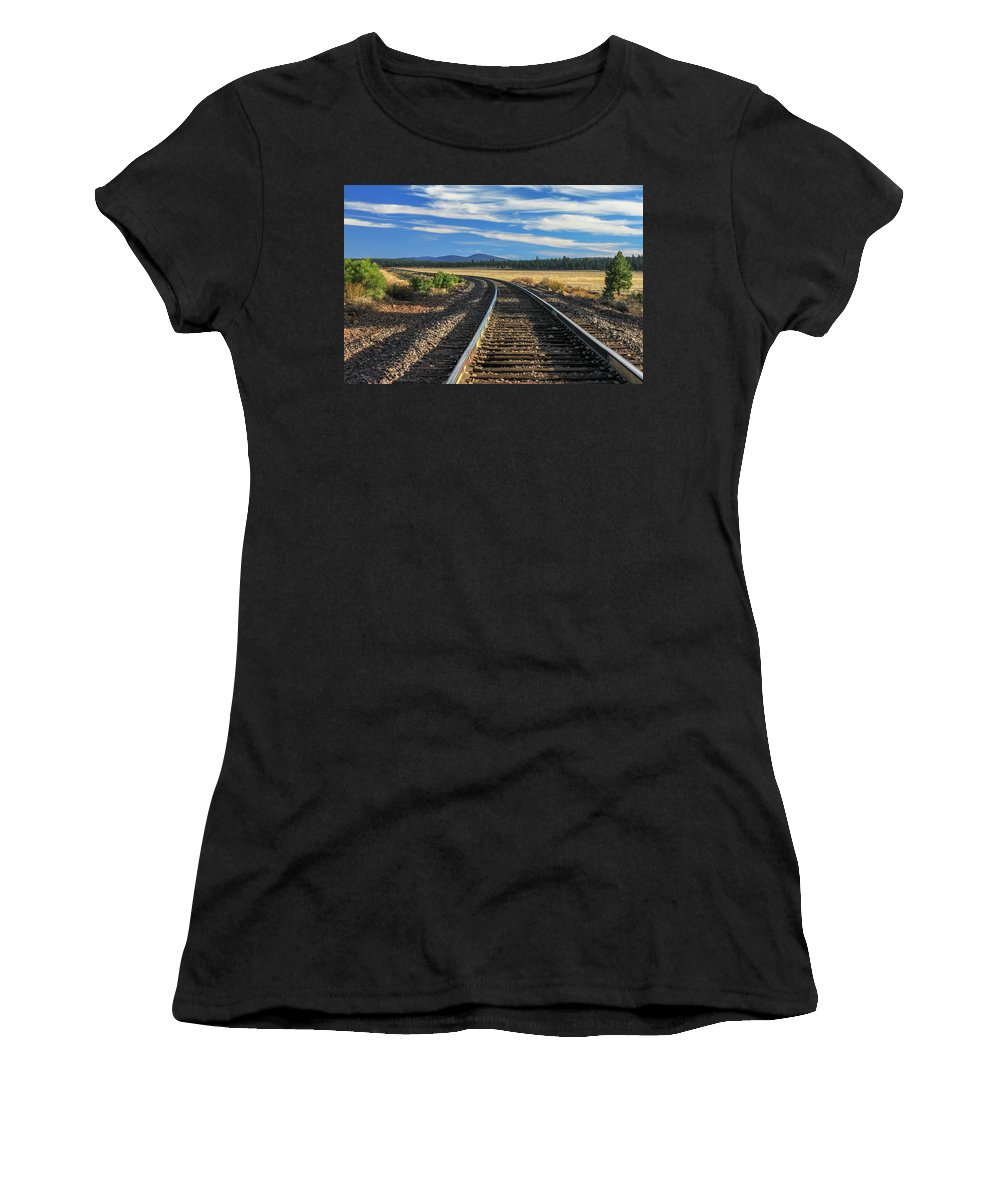 Landscape Women's T-Shirt (Athletic Fit) featuring the photograph Tracks At Crater Lake by James Eddy