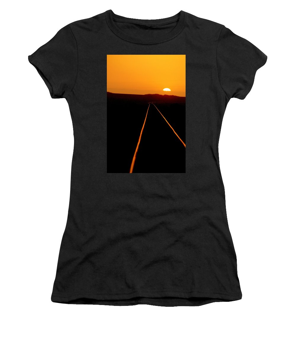 Train Track Women's T-Shirt (Athletic Fit) featuring the photograph Tracks Of My Tears by Lynn Andrews