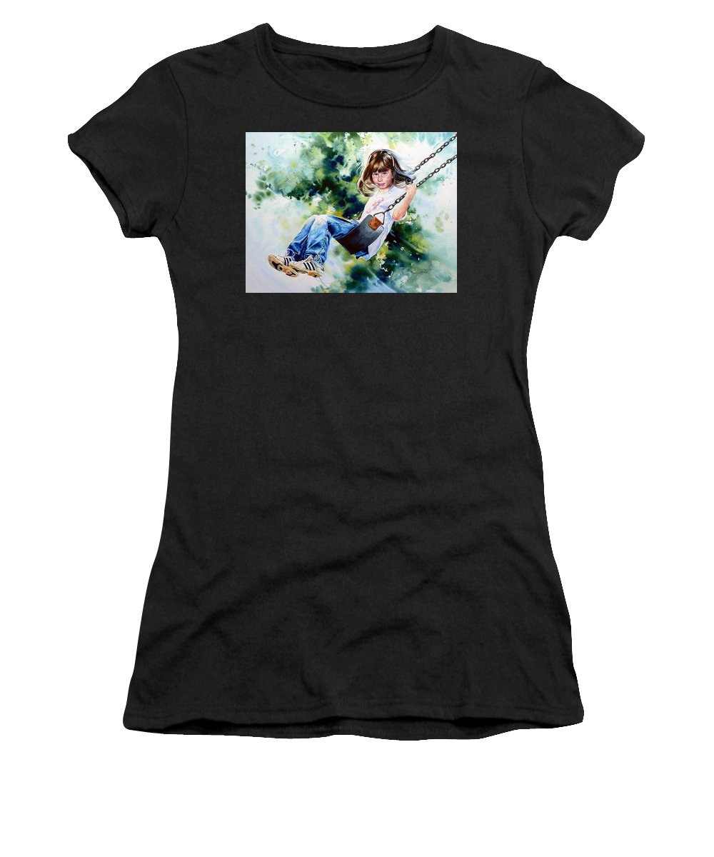 Action Portrait Women's T-Shirt (Athletic Fit) featuring the painting Tracy by Hanne Lore Koehler