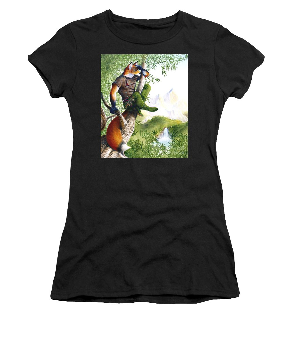 Fantasy Women's T-Shirt (Athletic Fit) featuring the painting Trail Blazing Fox by Melissa A Benson