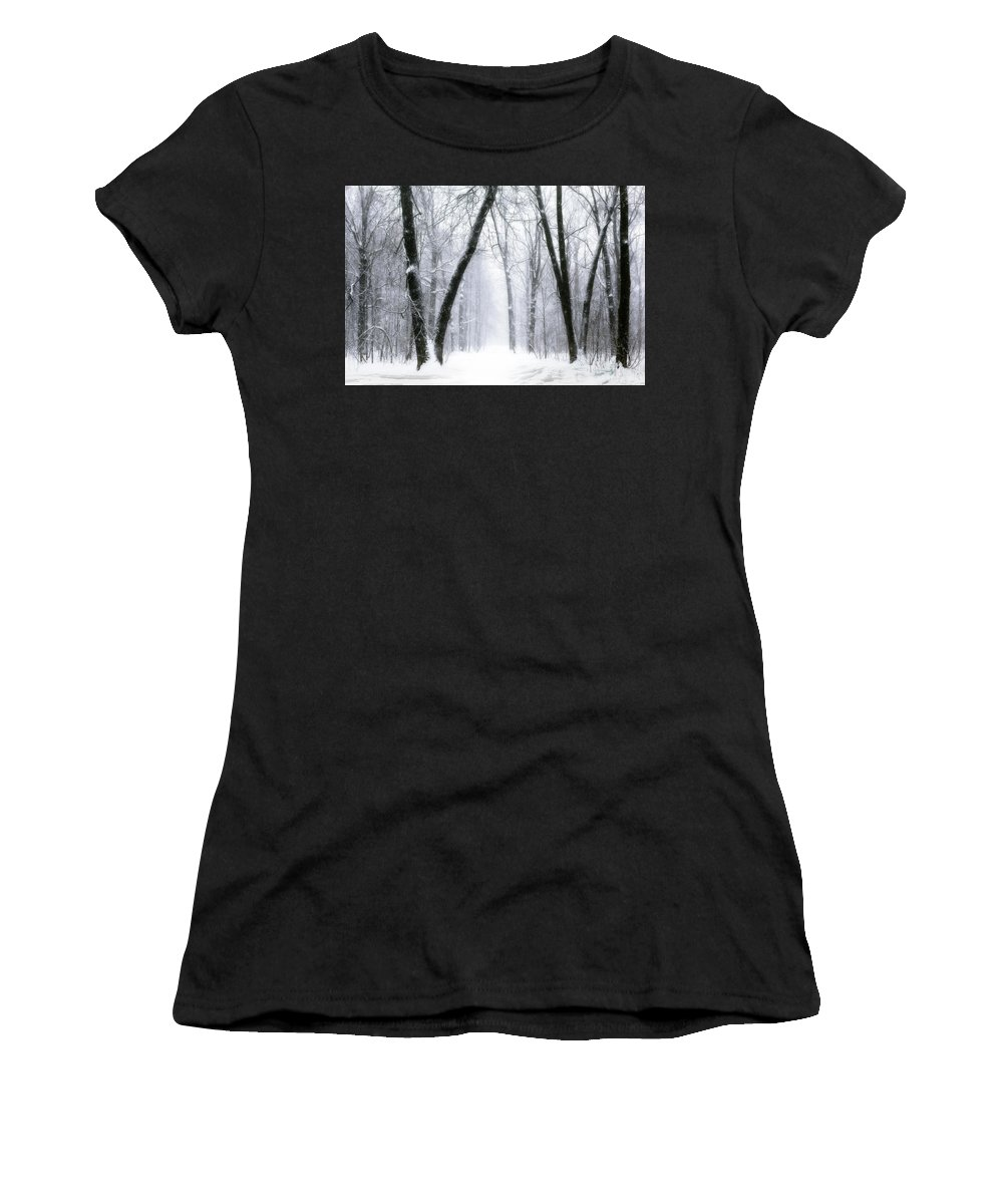 Forest Women's T-Shirt (Athletic Fit) featuring the photograph Trail Through The Winter Forest by Daniel Hagerman