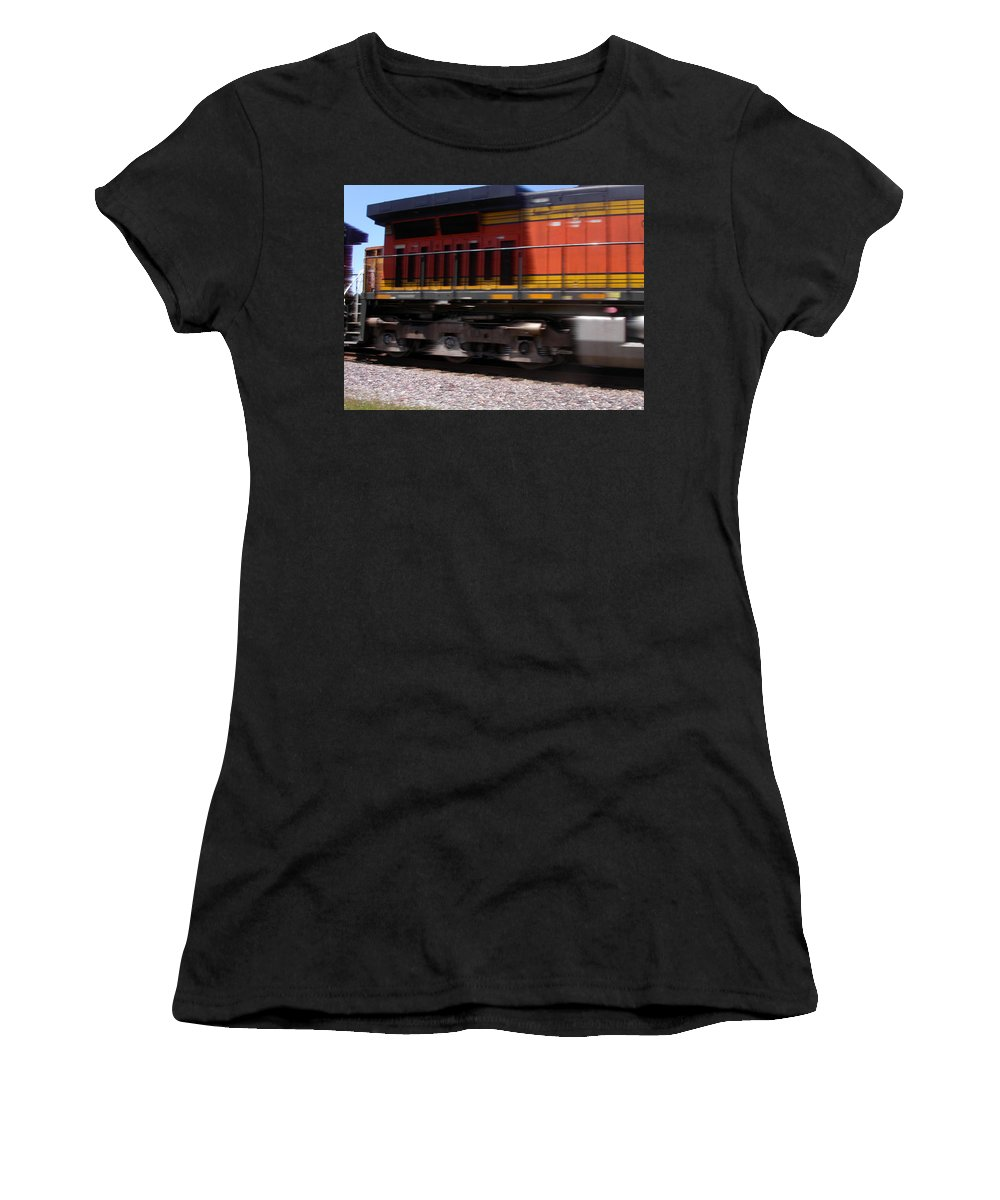 Train Women's T-Shirt (Athletic Fit) featuring the photograph Train In Motion by Anne Cameron Cutri